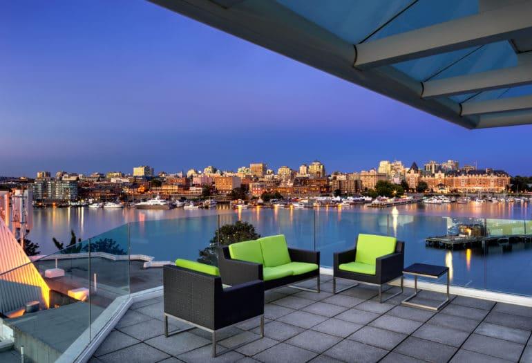 Rogers Suite patio at dusk