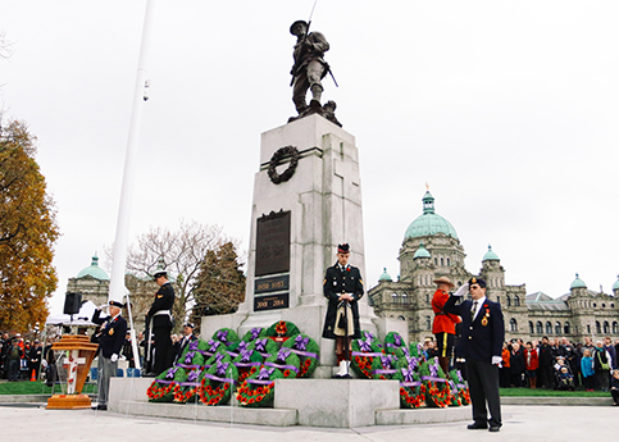 BC Legislature Cenotaph Remembrance Ceremony with uniformed military personel and wreaths