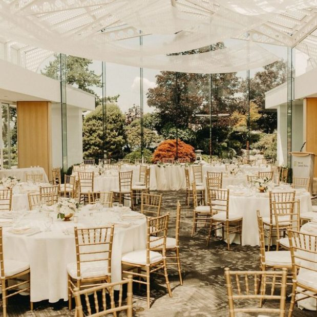 Wedding reception in Terrace Ballroom, gold chiavari chairs