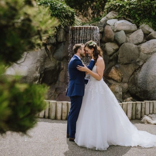 Bride and groom first look photos in Japanese Gardens