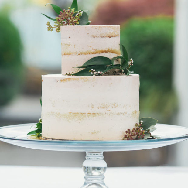 Two tiered naked wedding cake