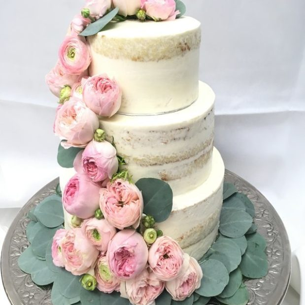3 Tiered naked wedding cake with peonies