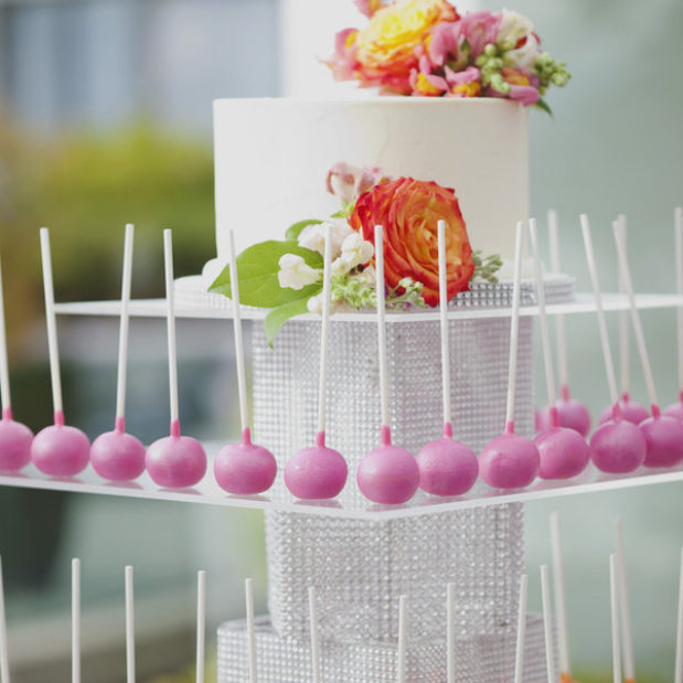 Pink and orange wedding cake pops