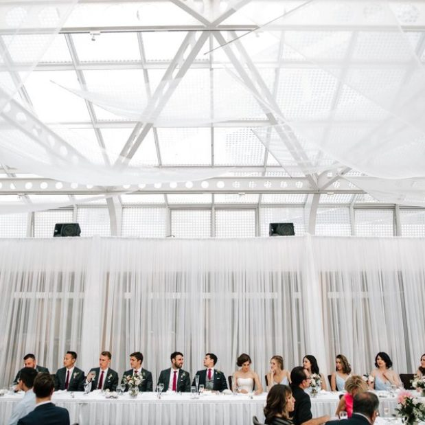 Bride, groom, and wedding party at head table during wedding reception