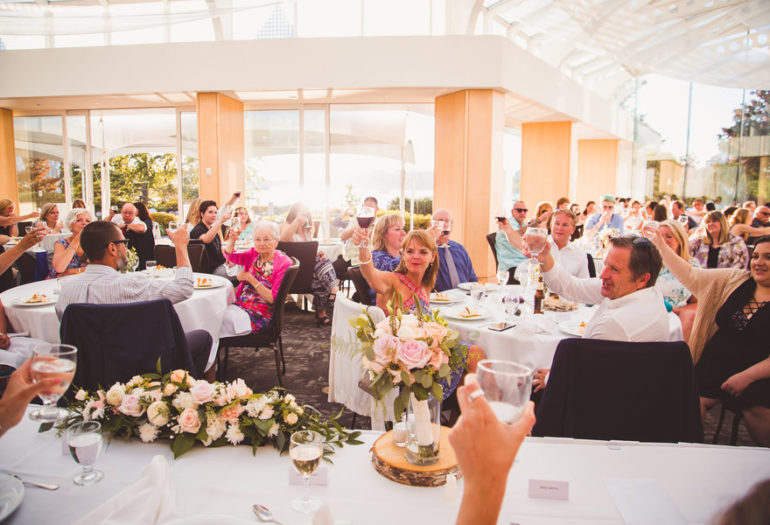 Toast to the head table at wedding