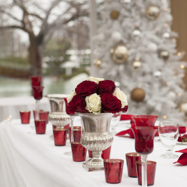 Red and white florals and wedding decor