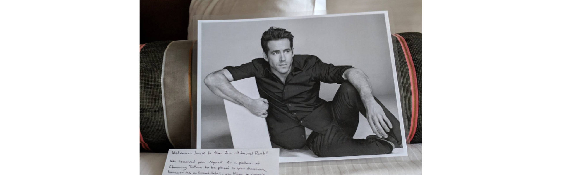 header image - black and white photo of actor Ryan Reynolds on bed with handwritten note