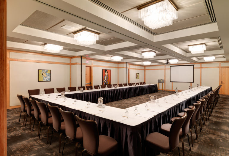 Merino Room meeting room set ushape with podium & projection screen