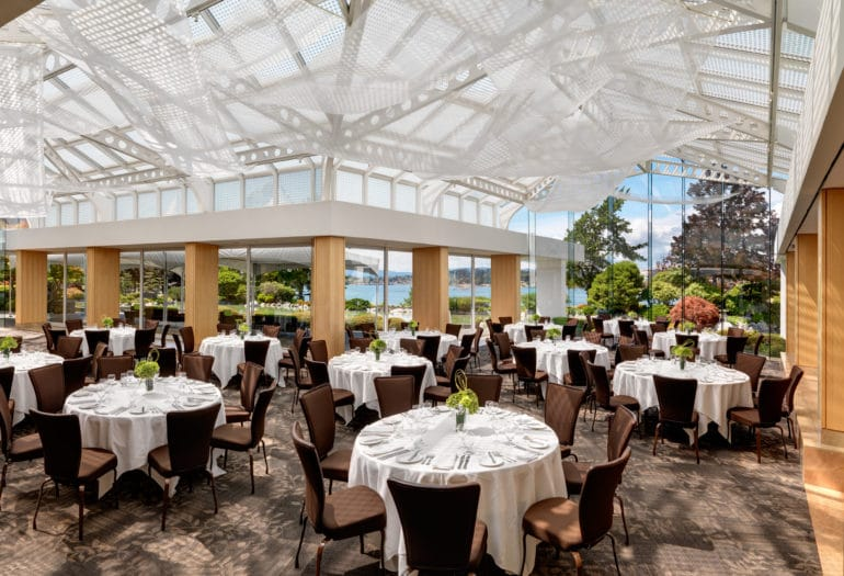 Terrace Blarrom set for dinner, views of the garden and Victoria's outer harbour
