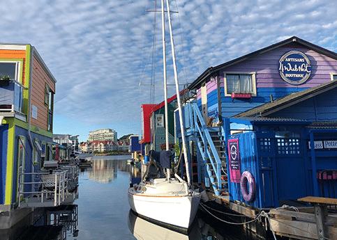 Fisherman's Warf colourful houses, sail boat