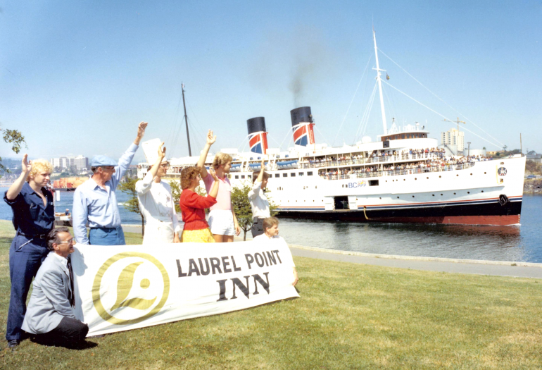 Inn at Laurel Point Staff waiving to Princess Marguerite steamship