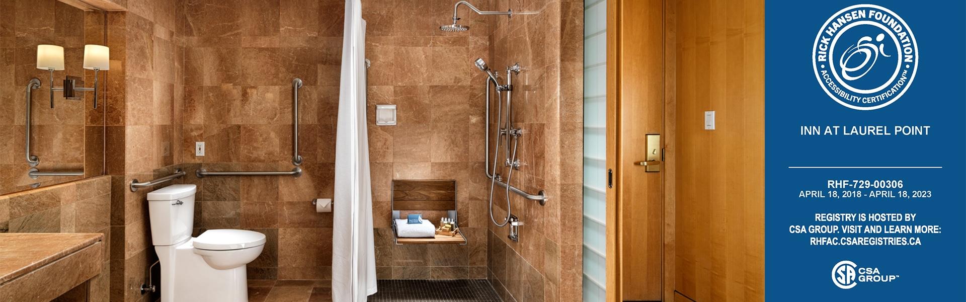 Accessible marble washroom Inn at Laurel Point Studio Room